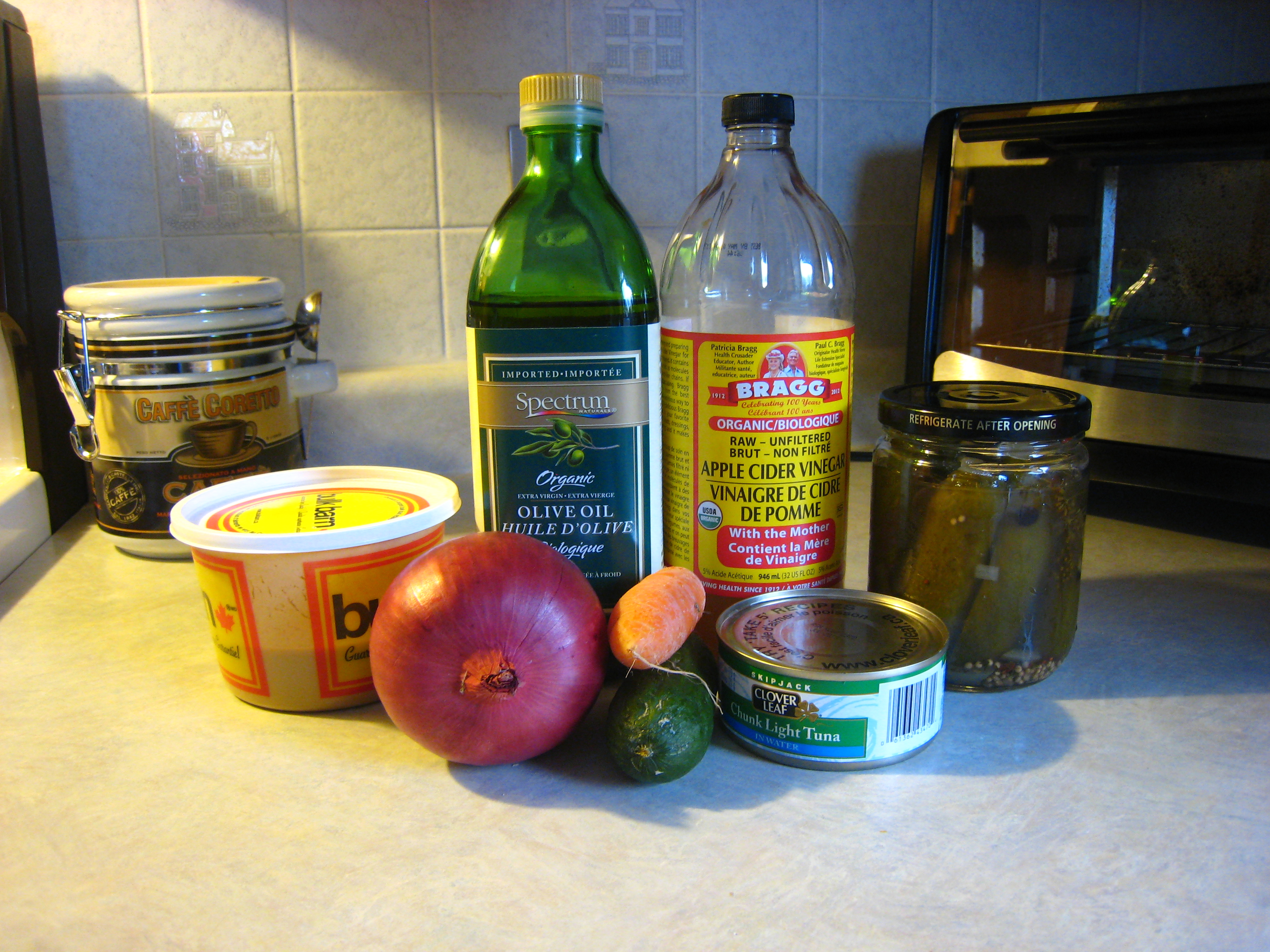 The ingredients we used for this Tuna Salad. Chopped celery, cucumber, & peppers are also a great addition.